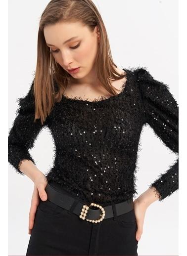 ESQ Siyah Pullu Saçaklı Bluz Siyah